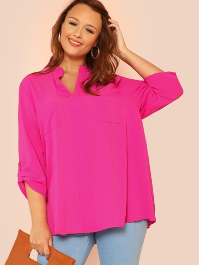 V Cut Neck Rolled Tab Sleeve Top