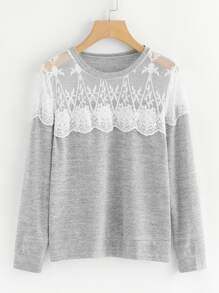 Contrast Lace Panel Tee