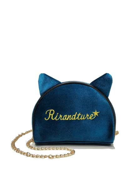 Slogan Embroidered Ear Detail Chain Bag