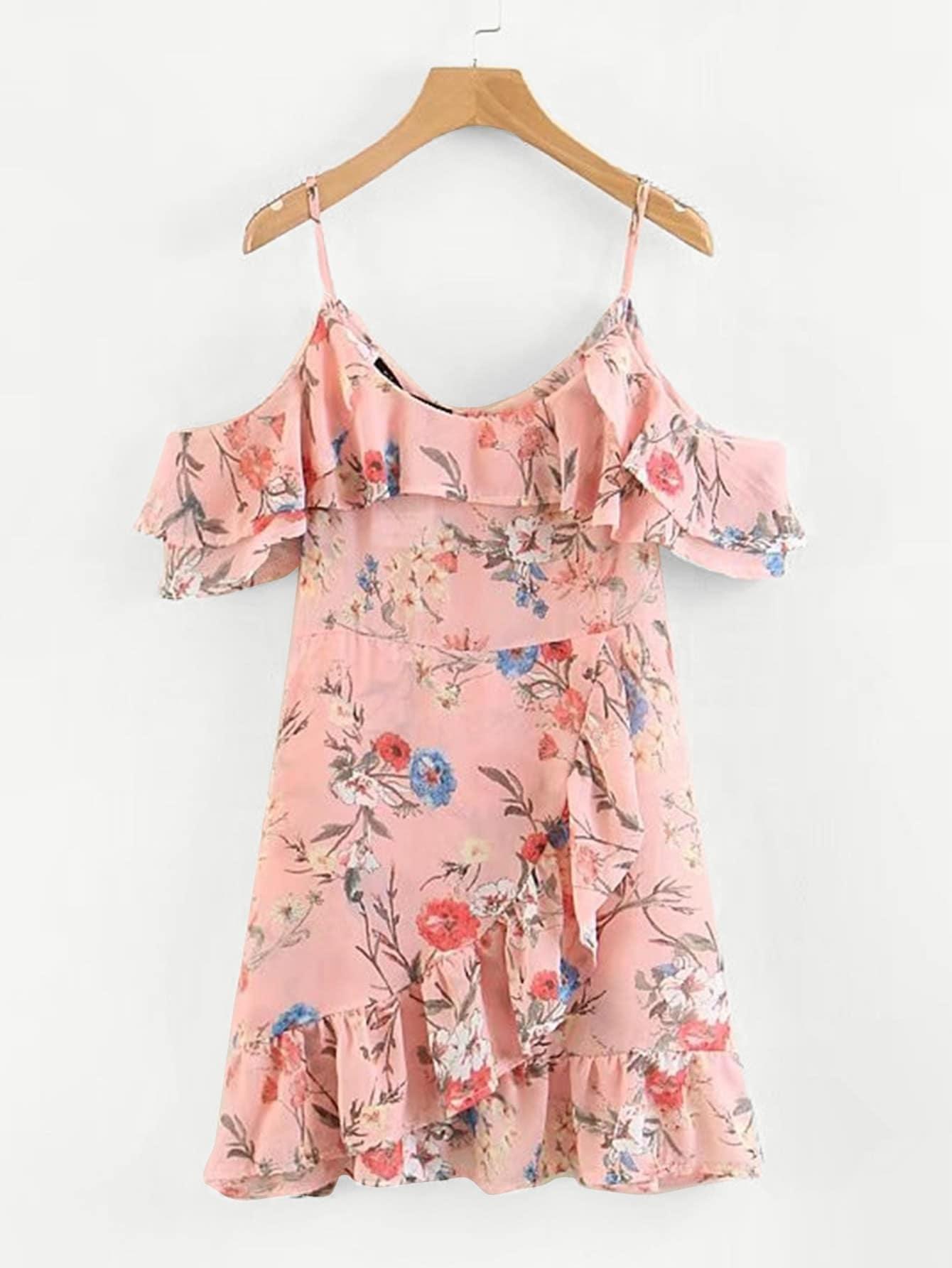 Random Florals Ruffle Trim Overlap Dress dress180313208