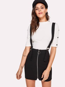 O-Ring Zipper Up Skirt With Buckle Strap
