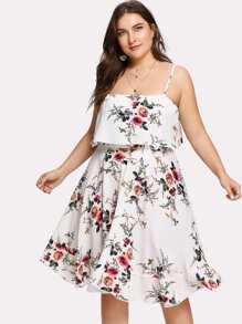 Double Layer Botanical Cami Dress