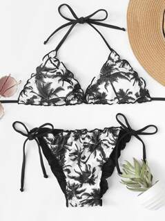 Palm Tree Frilled Top With Tie Side Bikini