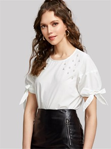 Pearl Embellished Knot Cuff Top