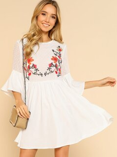 Floral Embroidered Jacquard Bodice Smock Dress