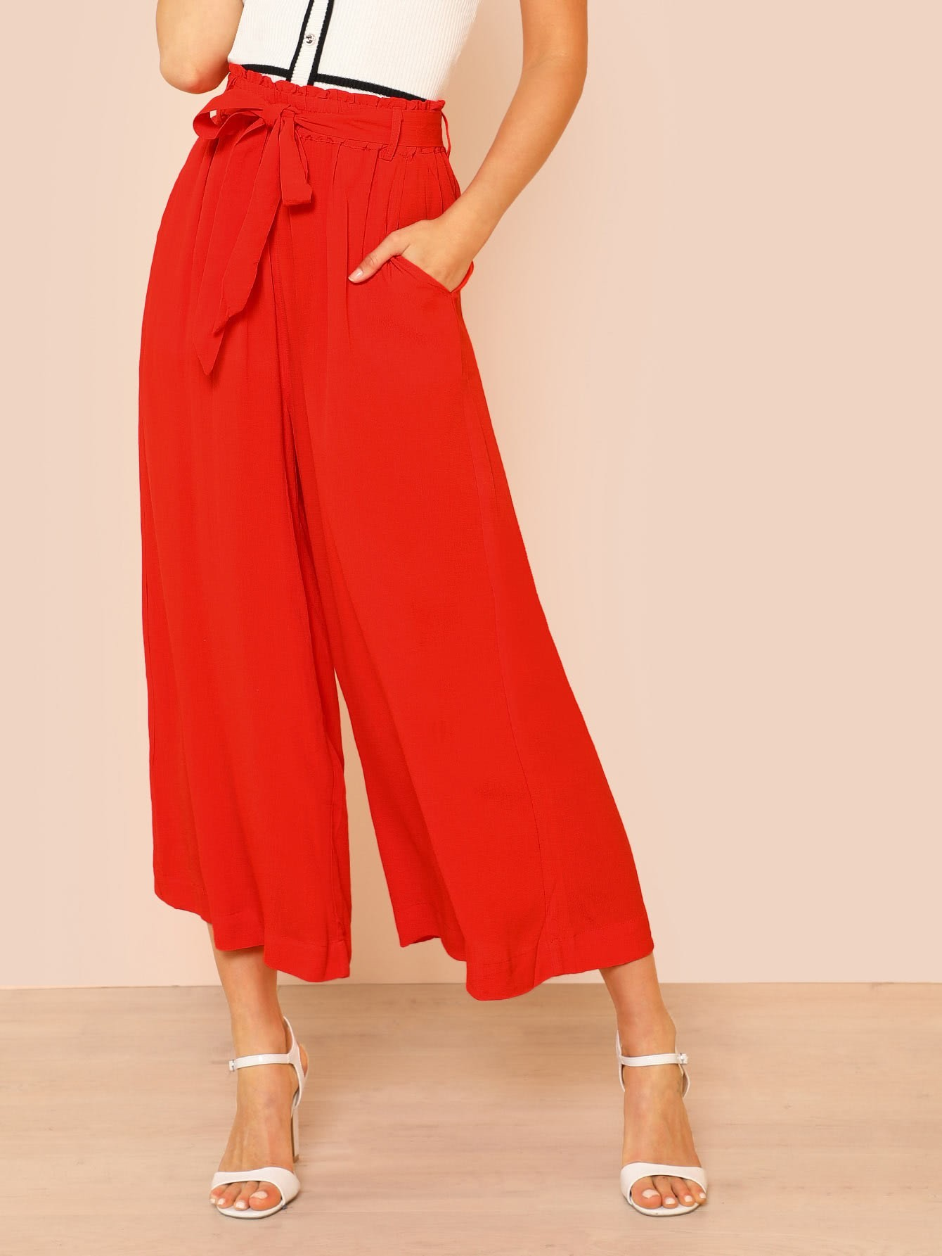 Shirred Waist Wide Leg Flowy Pants with Belt yellow grid skinny leg pants with belt
