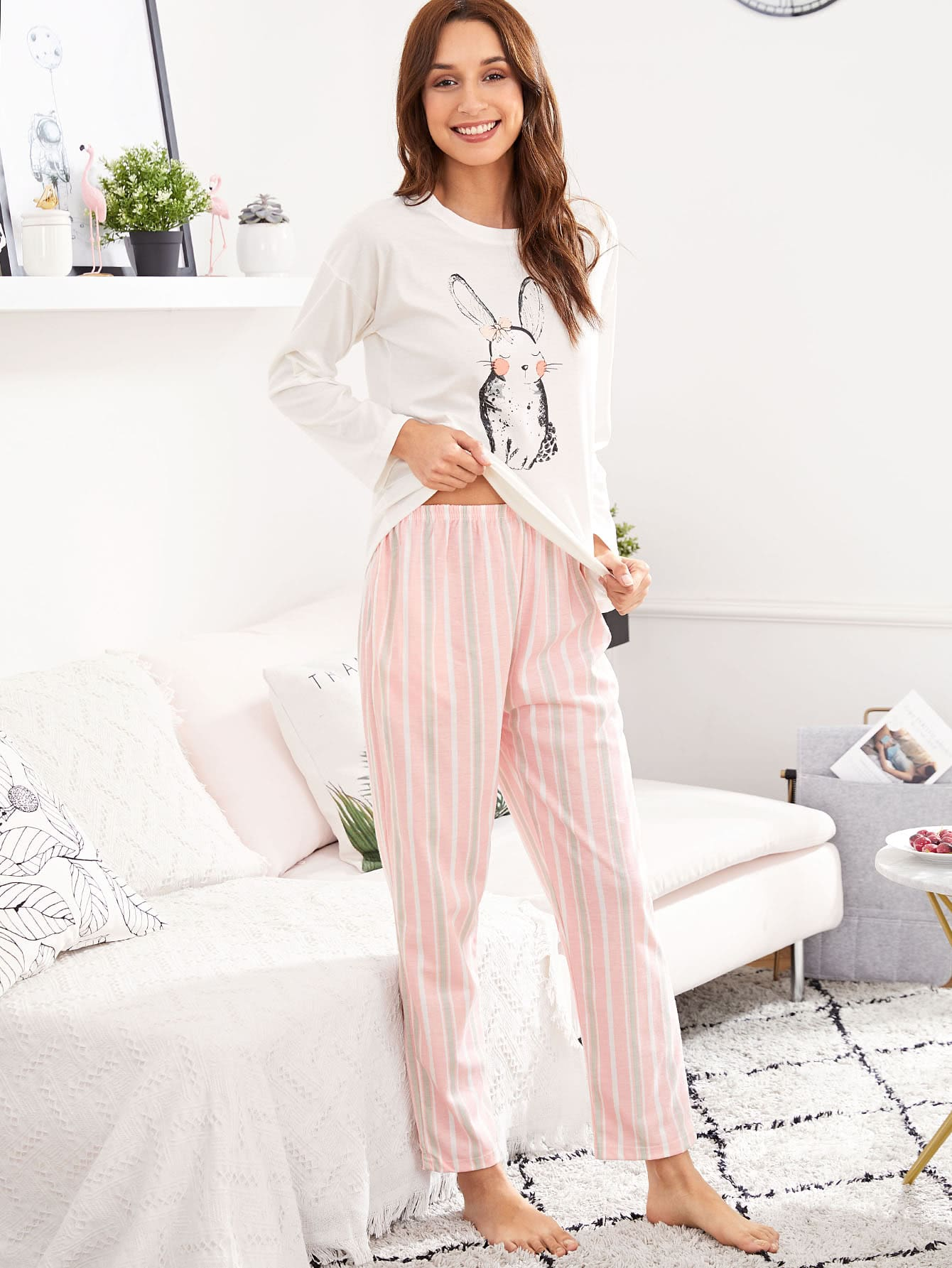 Rabbit Print Tee & Striped Pants PJ Set rabbit print pullover