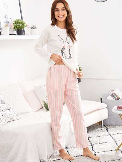 Rabbit Print Tee & Striped Pants PJ Set