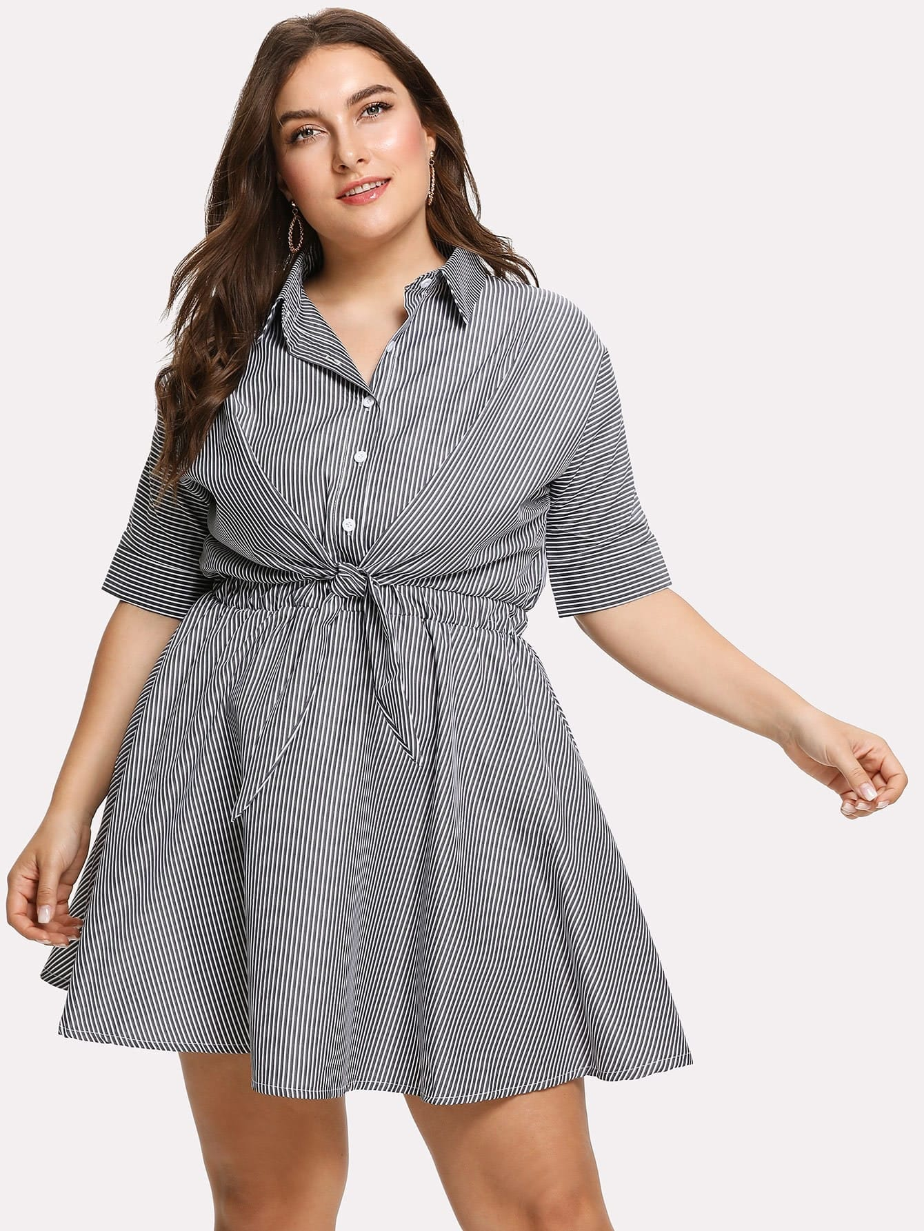 Фото - Plus Knotted Front Striped Shirt Dress striped knotted front cuffed shirt with chest pocket