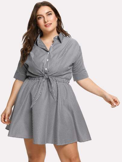 Knotted Front Striped Shirt Dress