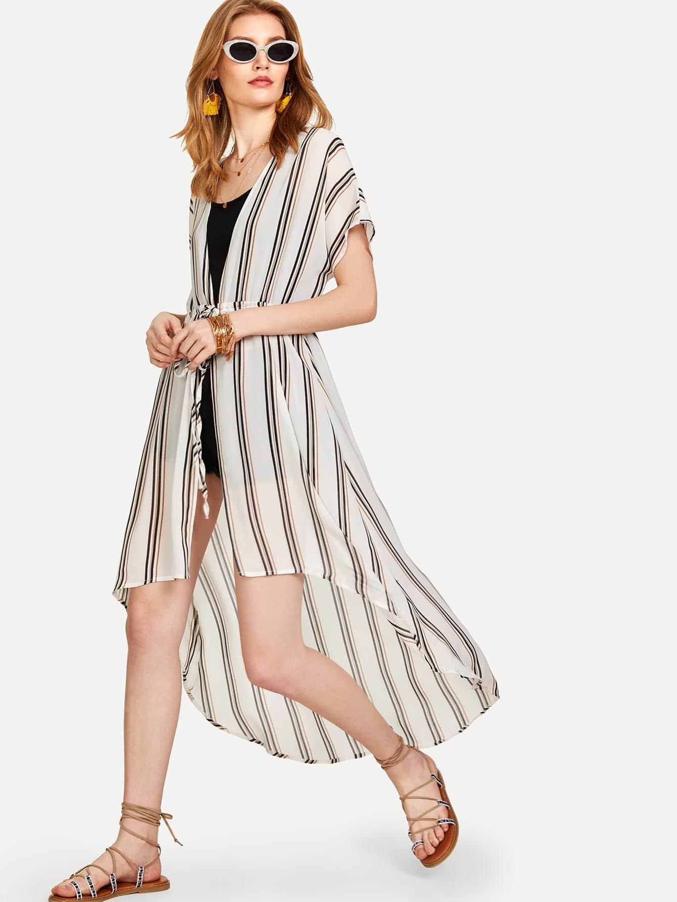Drawstring Waist High Low Striped Kimono drawstring waist high low striped kimono