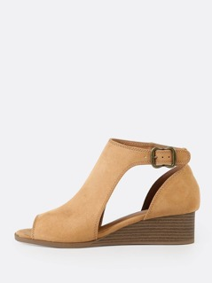 Faux Suede Peep Toe Cut Out Wedge Bootie CAMEL