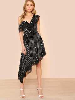 Asymmetrical Flounce Hem Polka Dot Dress with Lace Detail BLACK