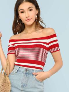 Stripe Off Shoulder Rib Knit Top RED WHITE