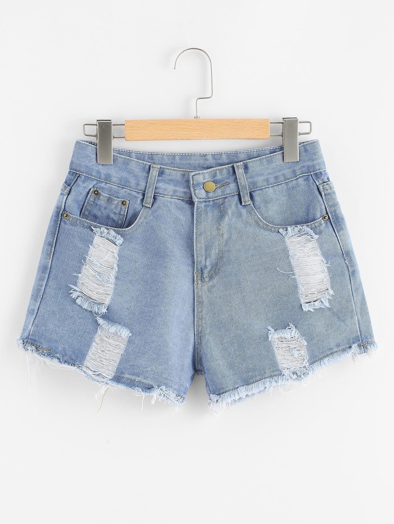 Ripped Raw Hem Denim Shorts raw hem ripped button front denim shorts