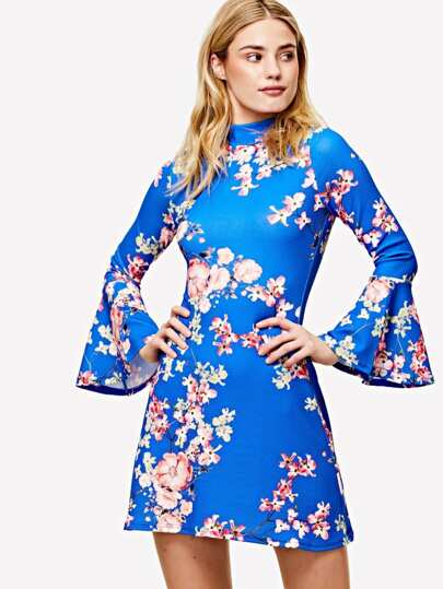 Floral Print Trumpet Sleeve Keyhole Back Dress