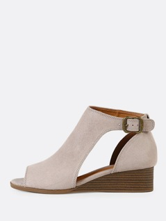 Faux Suede Peep Toe Cut Out Wedge Bootie TAUPE