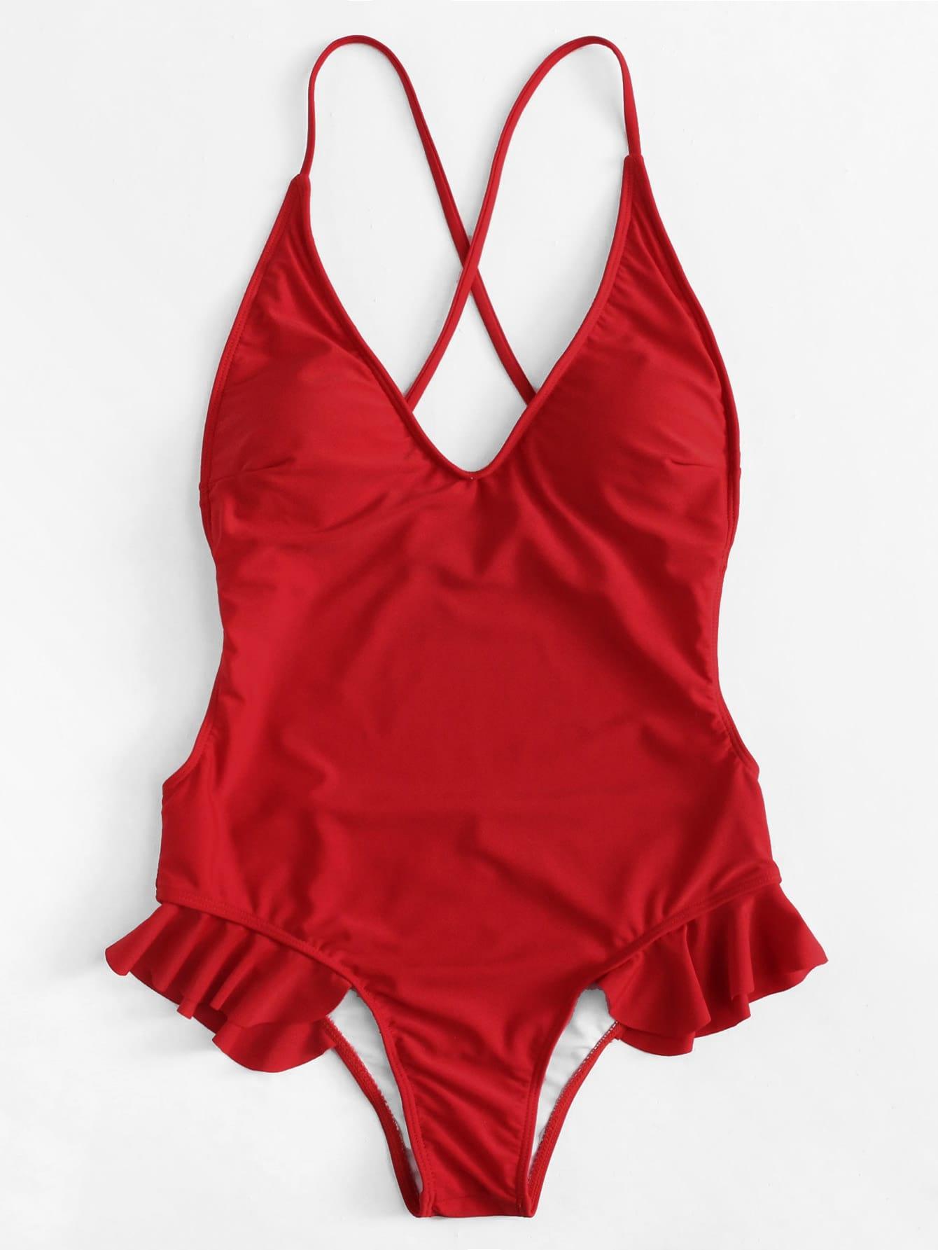 Open Back Ruffle Detail Swimsuit open back fit