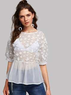 Flower Applique Semi Sheer Smock Top