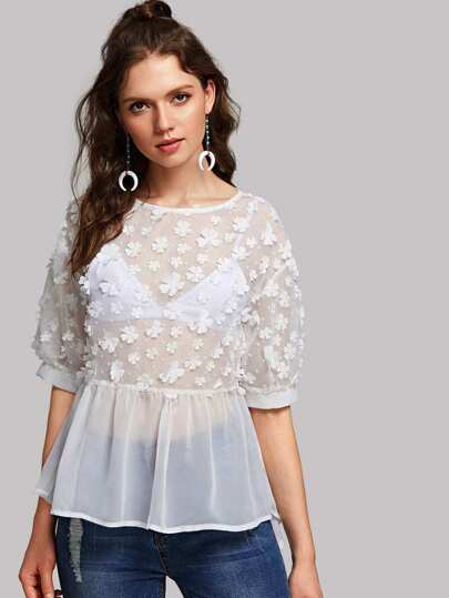 Top transparent avec applique de fleur