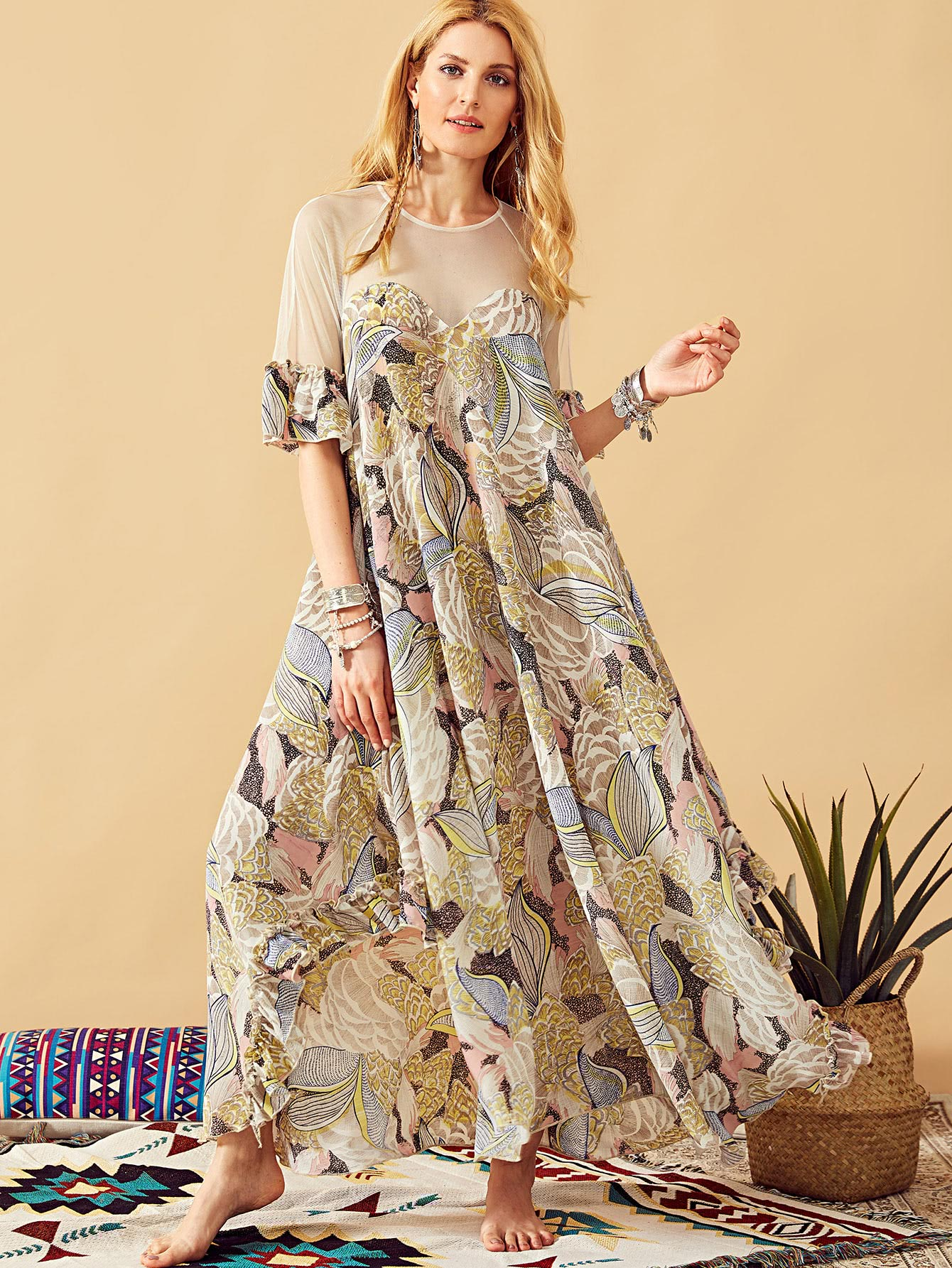 Купить Ассиметрчное платье с оборками на рукавах, Mirjana, SheIn