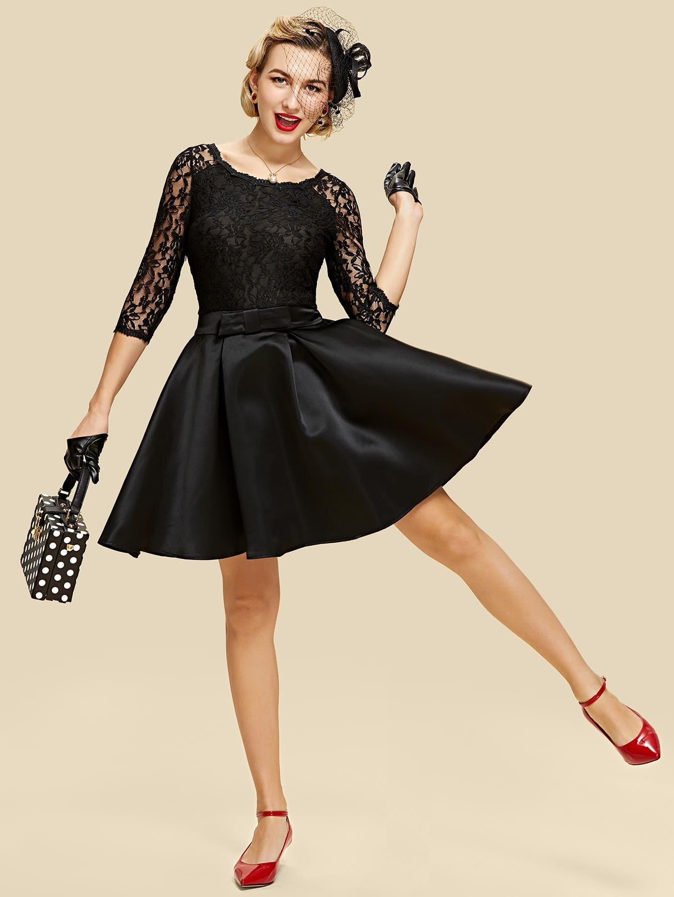 все цены на Lace Overlay Boxed Pleated Dress