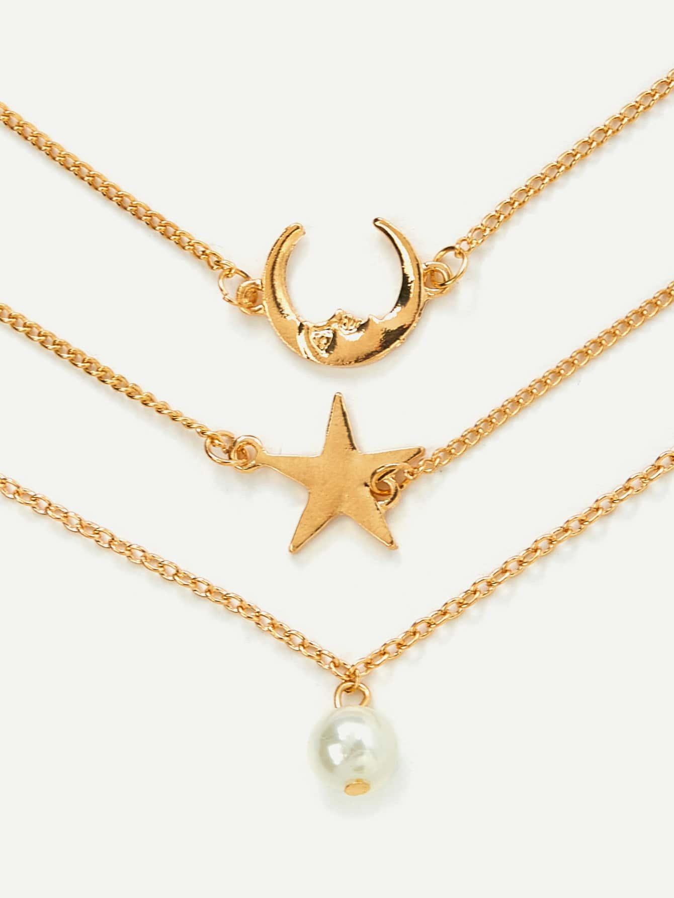Moon & Star Design Link Bracelet Set все цены