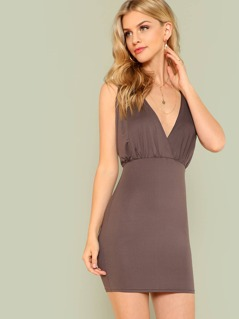 Surplice V Neck Bodycon Dress