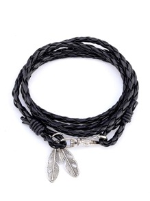 Leaf Charm Woven Layered Bracelet