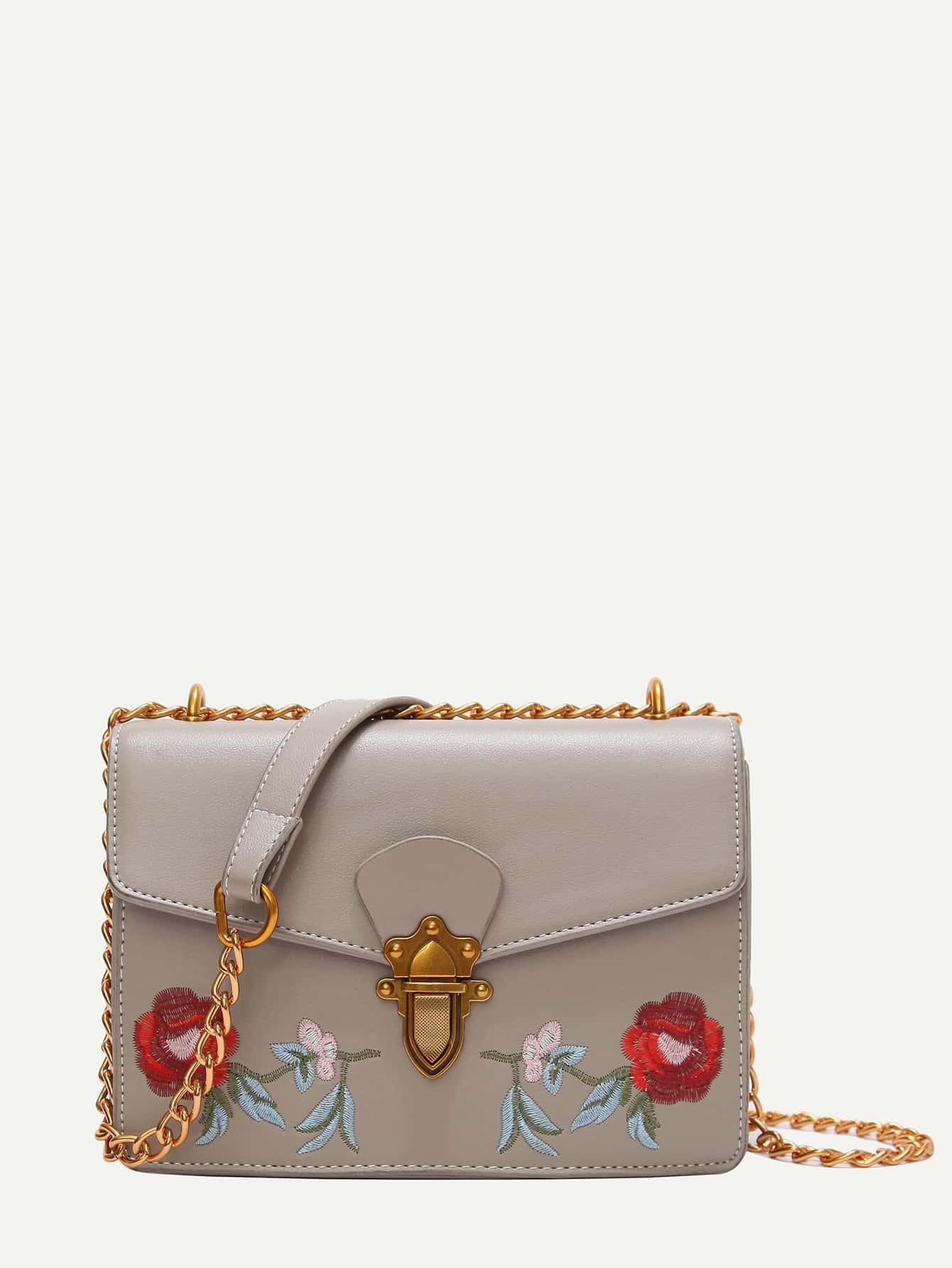 Rose Embroidered Push Lock Chain Bag цена 2017