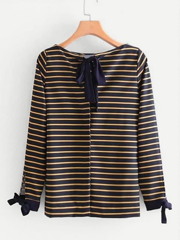 Tie Detail Striped Blouse bow tie detail striped blouse