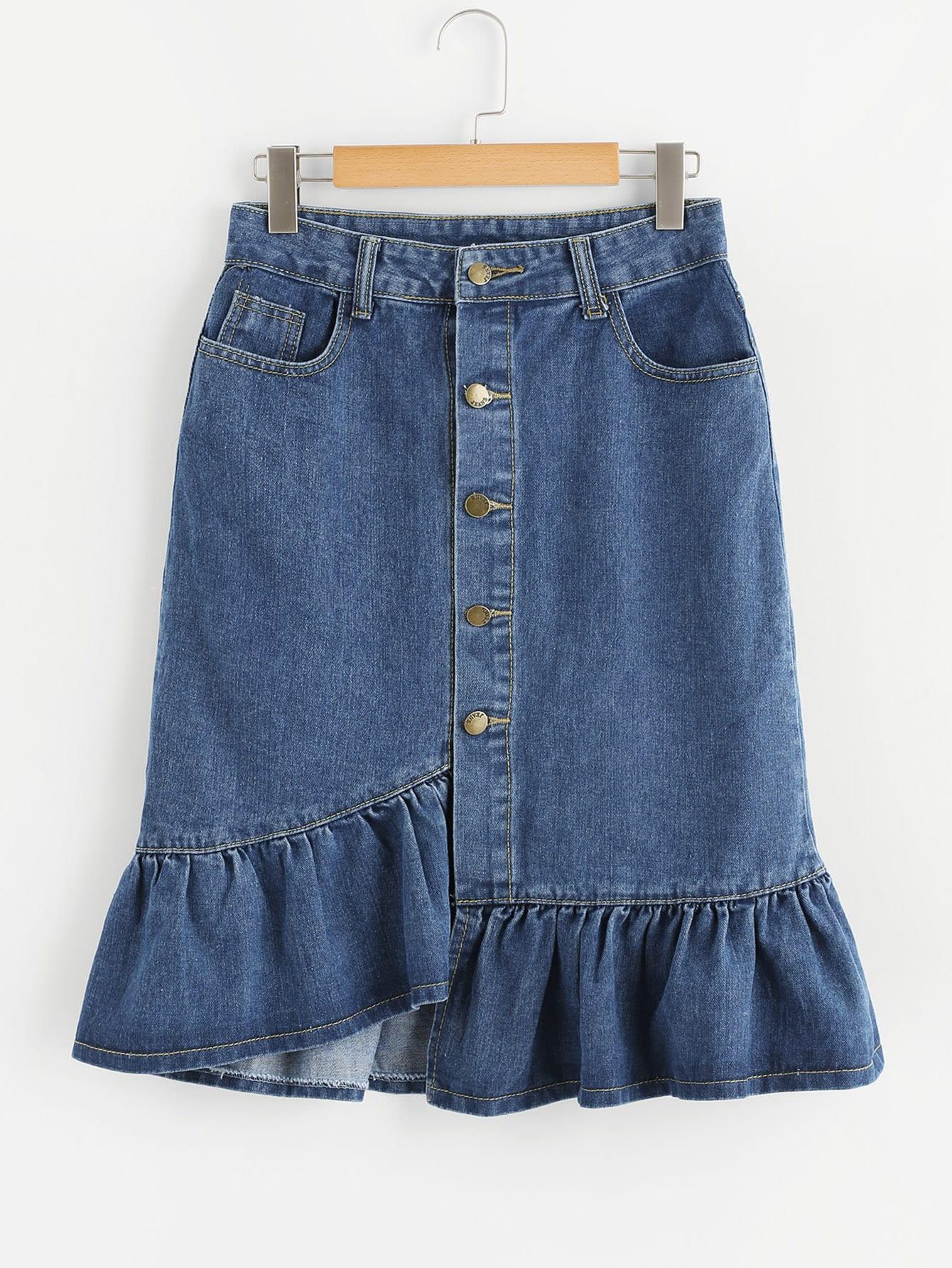 Fishtail Button Front Denim Skirt button front denim suspender skirt