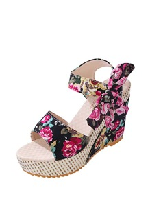 Floral Embellished Bow Tie Wedge Sandals