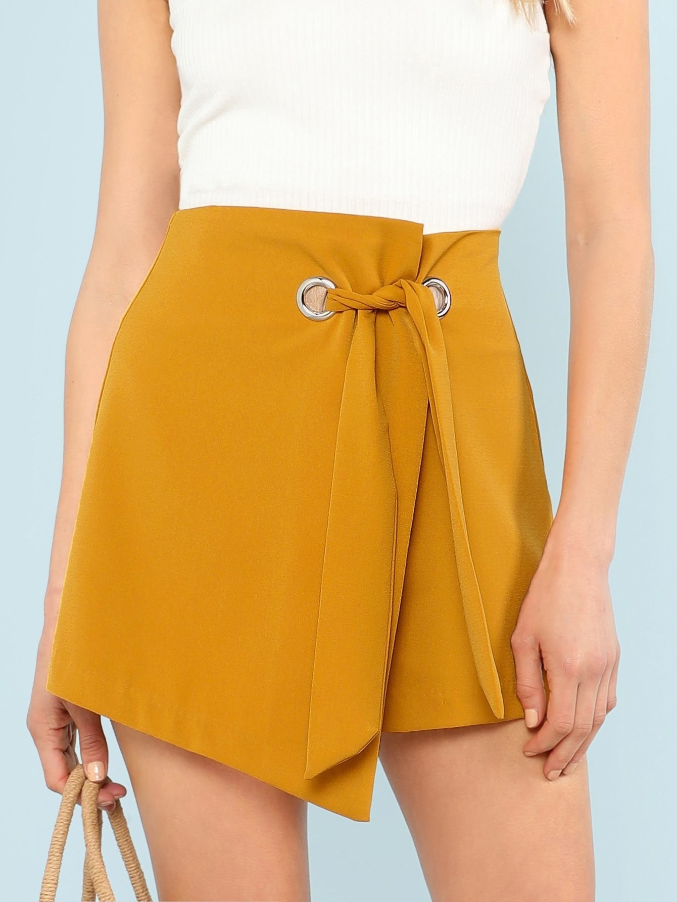 Купить Ассиметричная юбка шорты с кольцом, Allie Leggett, SheIn
