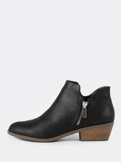 Zip-Up Low Heel Bootie BLACK