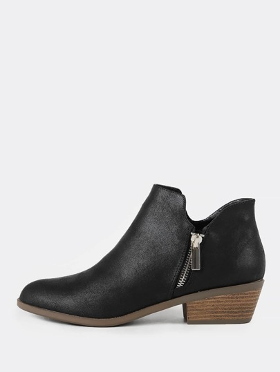 Zip-Up Low Heel Bootie BLACK