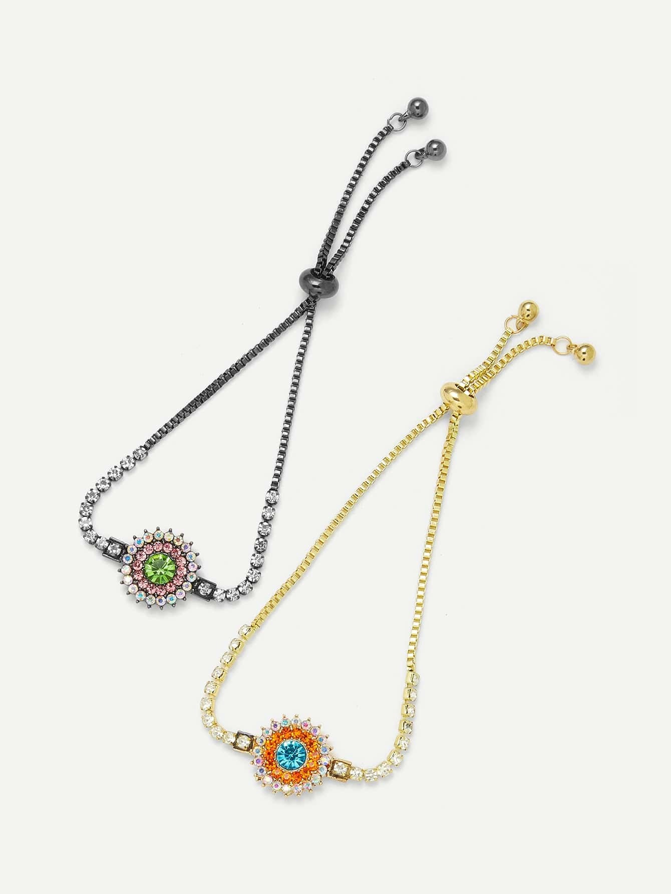 Rhinestone Flower Design Chain Bracelet Set wing design chain bracelet