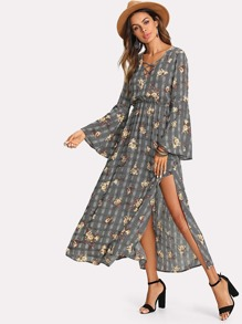 Mixed Print Crisscross Neck Slit Dress