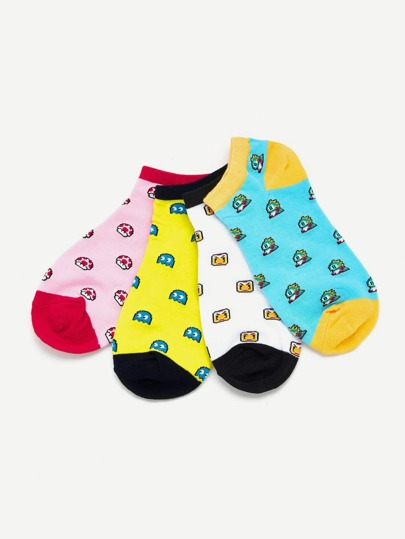 Cartoon Ankle Socks 4pais