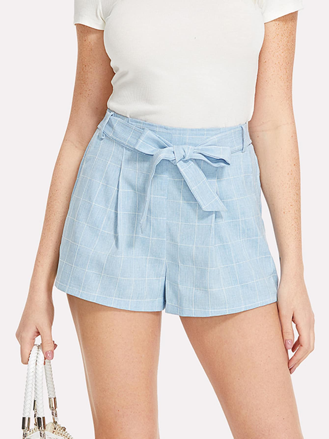 Self Belted Grid Shorts self belted boxed pleated shorts