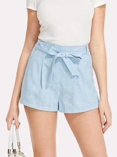 Self Belted Grid Shorts