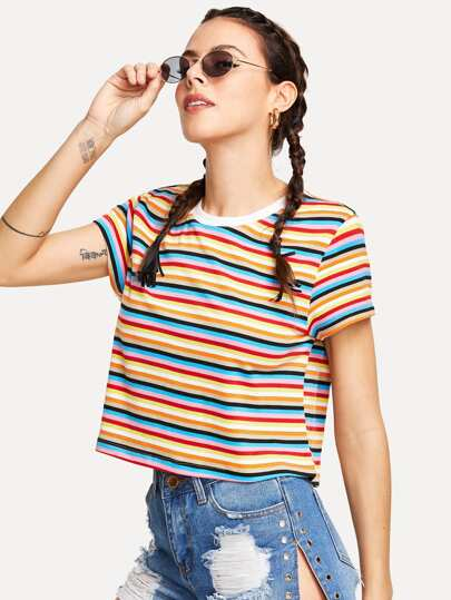 Contrast Neck Colorful Striped Tee