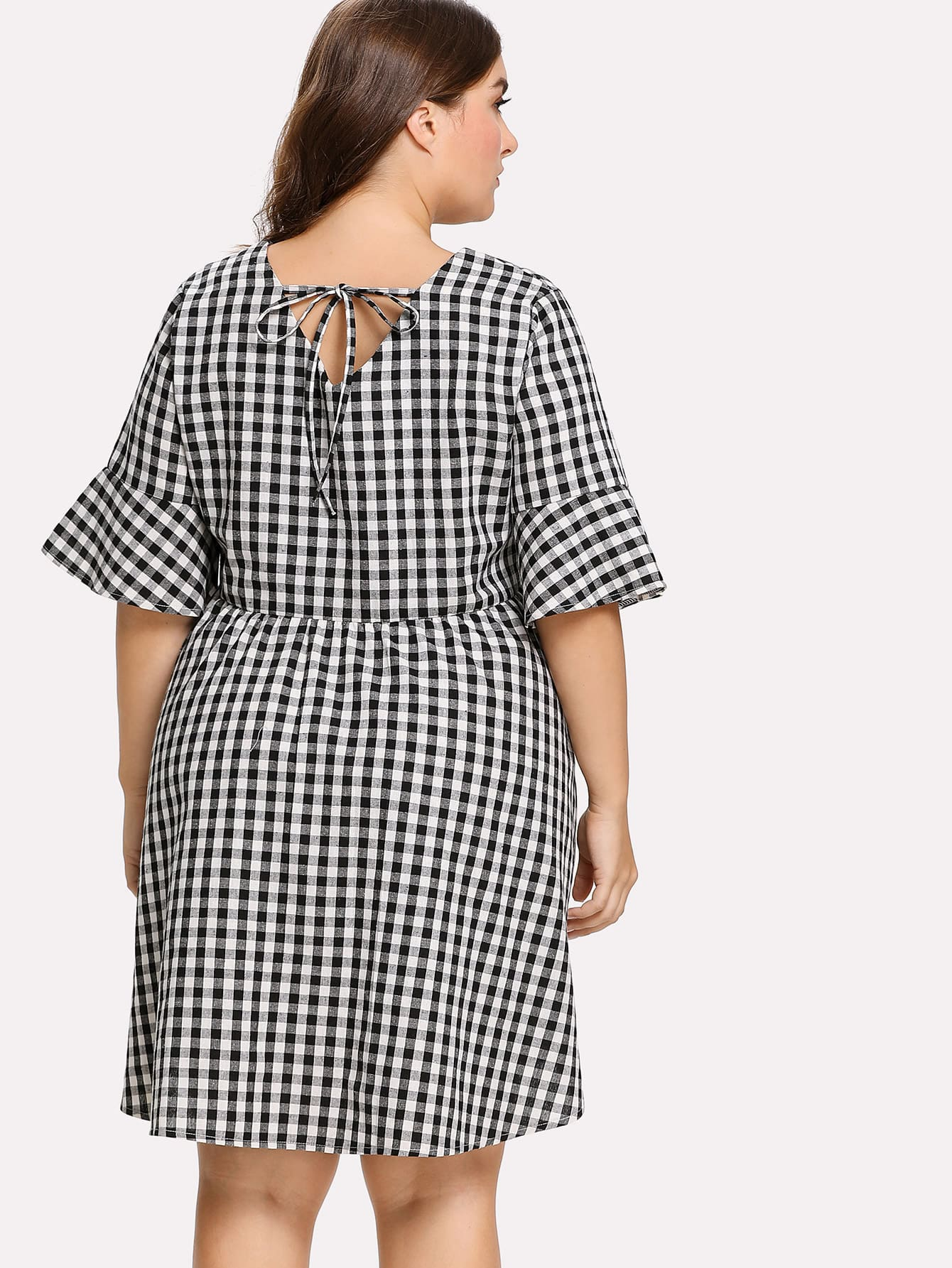 Plus Tie Back Gingham Dress plunged gingham bow tie back romper