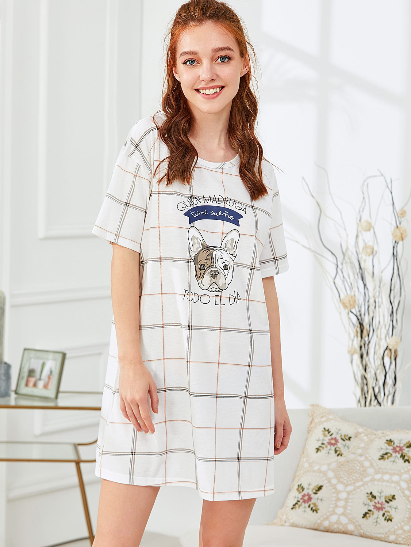 Dog Print Plaid Dress