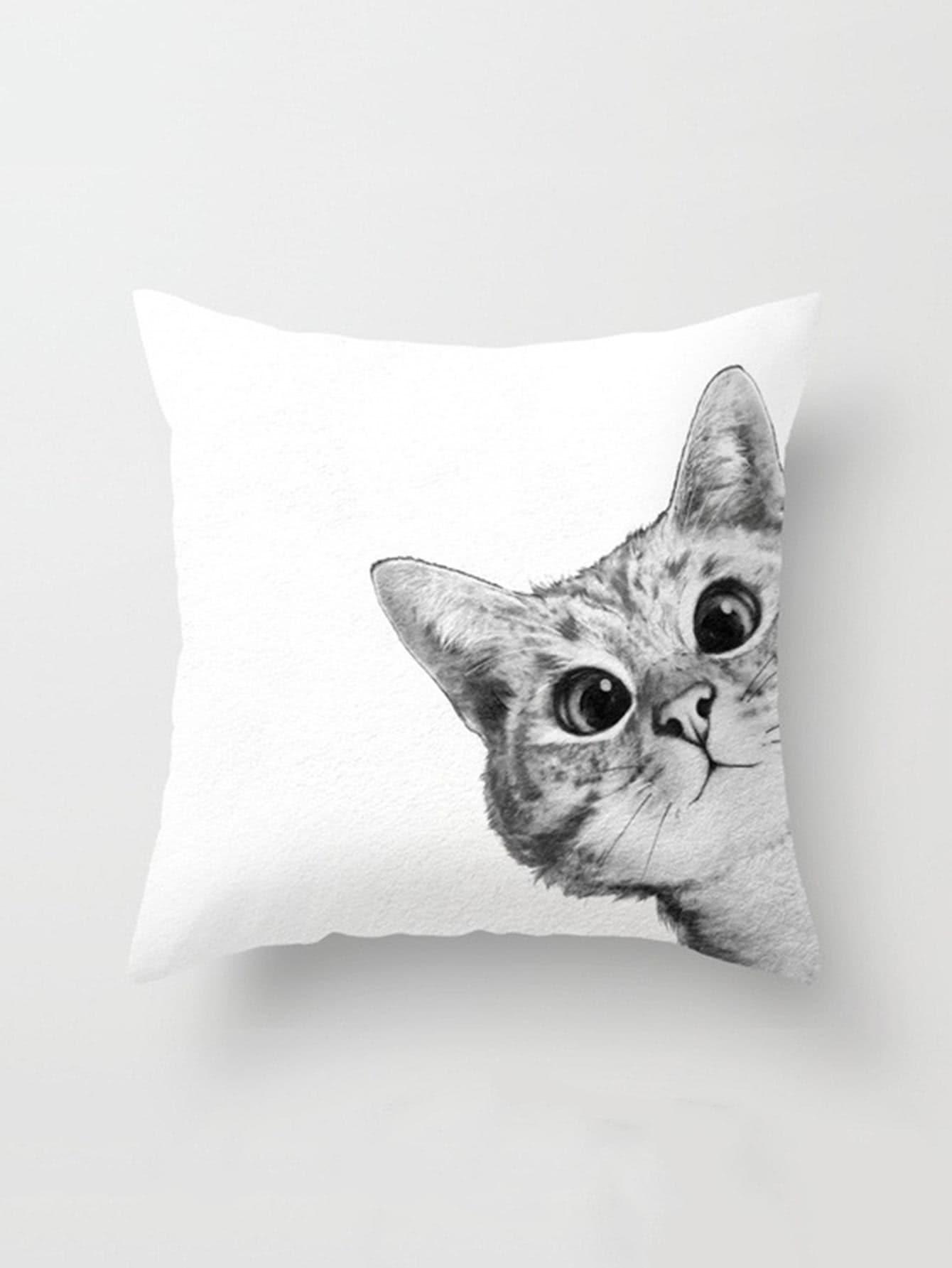 Cat Print Pillowcase Cover panda print linen pillowcase cover