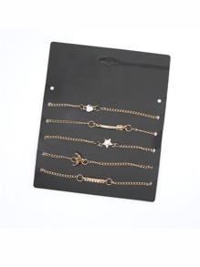 Multi Charm Chain Bracelet 5pcs