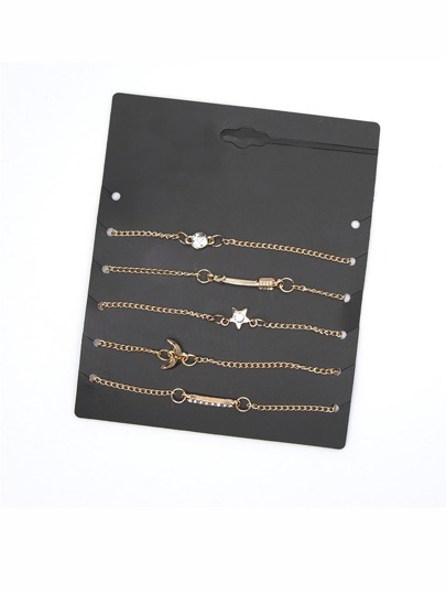 Multi Charm Chain Bracelet 5pcs