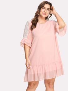 Lace Accent Ruffle Trim Keyhole Back Dress