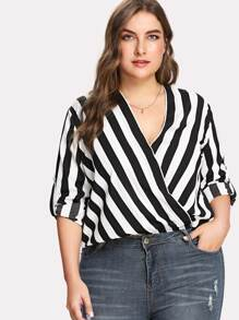 Rolled Tap Sleeve Surplice Wrap Striped Top