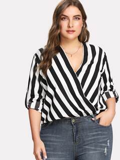 Plus Rolled Tap Sleeve Surplice Wrap Striped Top